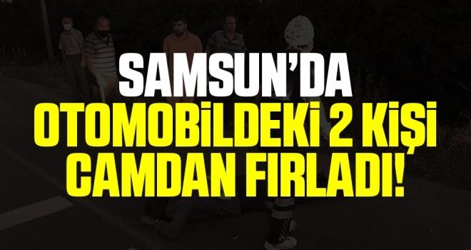 Samsun'da Refüje Çarpan Otomobildeki 2 Kişi Camdan Fırladı