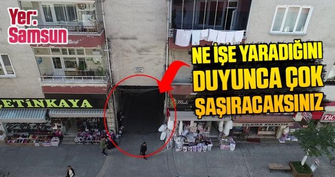 Samsun'da apartmanın altından yol geçiyor