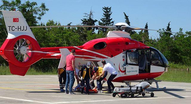 Kalp krizi geçiren 48 yaşındaki şahıs ambulans helikopter ile hastaneye yetiştirildi