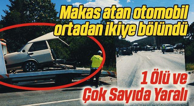 Makas atan otomobil ortadan ikiye bölündü: 1 ölü, 10 yaralı