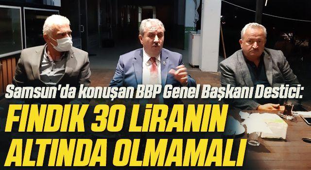 Samsun'da konuşan BBP Genel Başkanı Destici: Fındık 30 liranın altında olmamalı