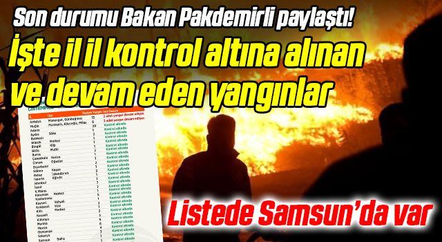 LİSTEDE SAMSUN'DA VAR! Son durumu Bakan Pakdemirli paylaştı! İşte il il kontrol altına alınan ve devam eden yangınlar