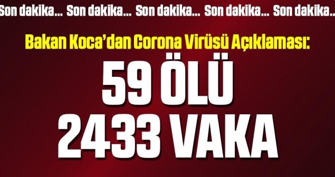Bakan Koca son corona virüsü sayılarını açıkladı!