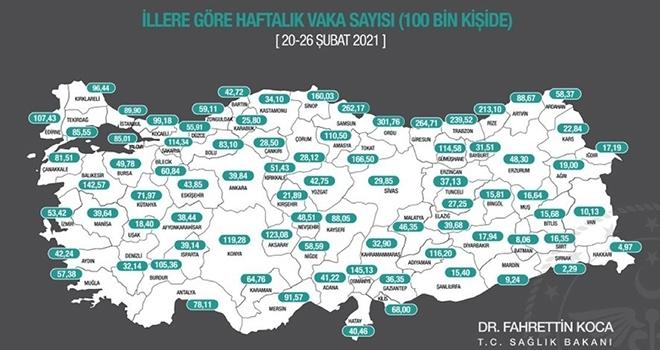 Sağlık Bakanı Koca: İllerimizde 100.000 nüfusa düşen haftalık toplam vaka sayısının güncel haritasını ilan ettik