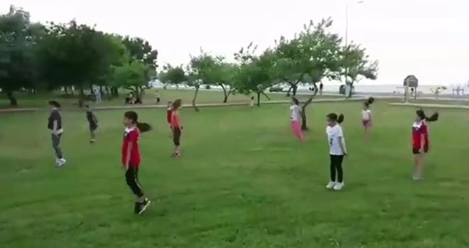 Canik Cimnastik Kulübü sporcularından Tedbirli Çalışma