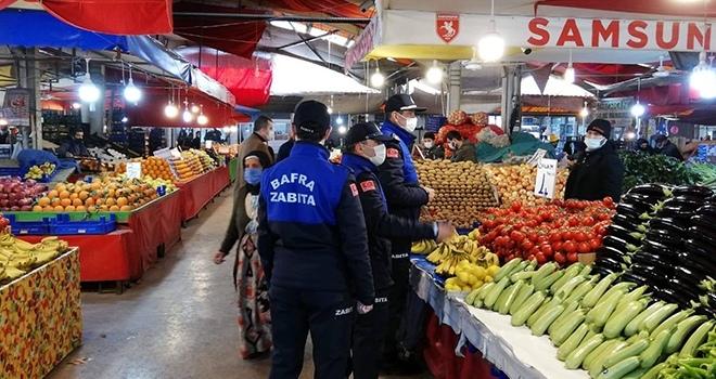Bafra'da pazarlara zabıtalardan denetim
