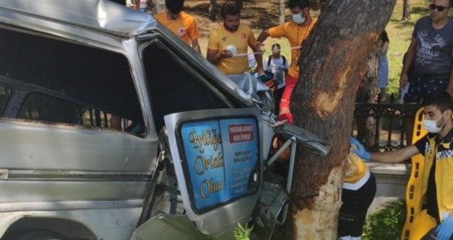 Samsun'da kamyonet ağaca çarptı: 2 yaralı