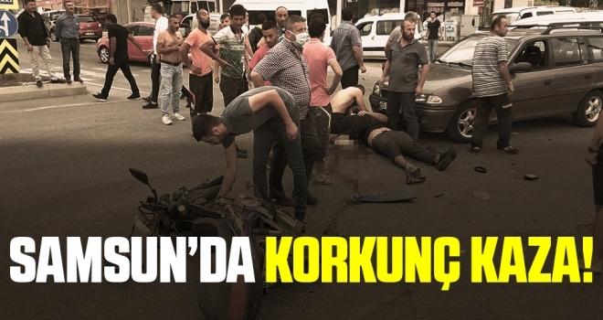 Samsun'da Otomobille Motosiklet Kazası!