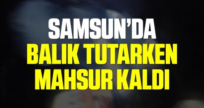Samsun'da Teknesiyle gölde mahsur kaldı