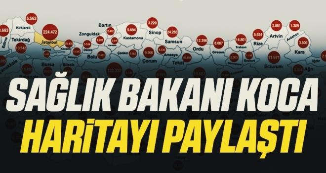 Sağlık Bakanı Fahrettin Koca Haritayı Paylaştı! 1,2 milyon aşı Türkiye'nin tamamına ulaştı