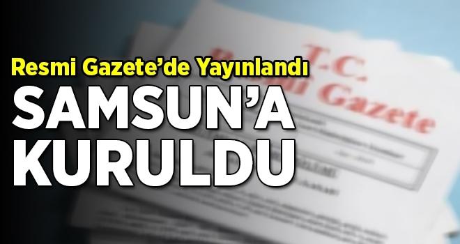 Resmi Gazete'de Yayınlandı Samsun'a Kuruldu