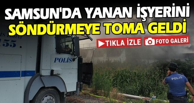 Samsun'da Yanan İşyeri Söndürülmeye Çalışılıyor!