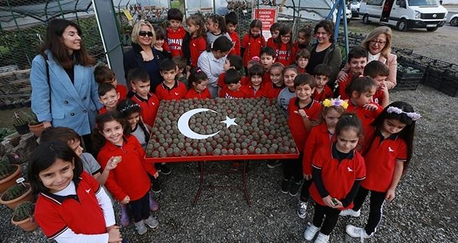 İlkokul öğrencilerindenkaktüslerden Türk bayrağı