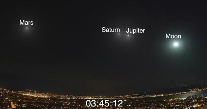 Ay, Jüpiter, Satürn ve Mars'ın muhteşem görüntüsü büyük beğeni topladı