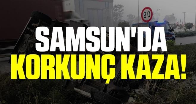 Samsun'da Korkunç Kaza! Kamyonet Takla Attı: 1 Yaralı