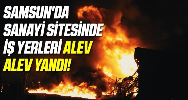Samsun'da sanayi sitesinde iş yerleri alev alev yandı!
