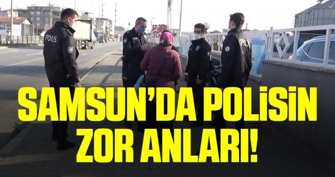 Samsun'da trafiği tehlikeye düşüren kadın, polise zor anlar yaşattı