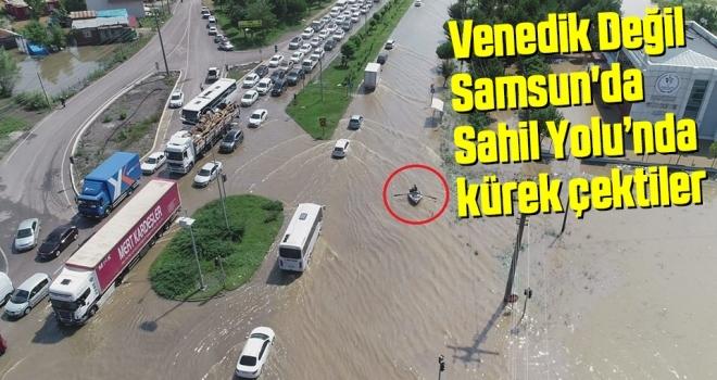 Samsun'da Sahil Yolu'nda kürek çektiler